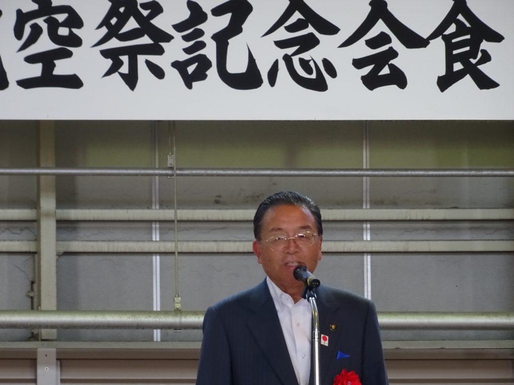 基地のある東松島市長渥美巌氏。
