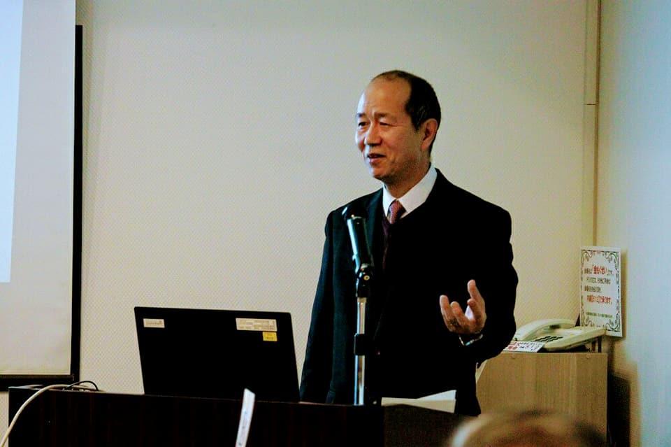 航空自衛隊松島基地新司令松尾洋介氏による講話。